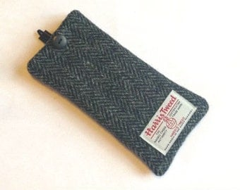 Grey herringbone Harris Tweed glasses case, mens specs case, tweed man gift, fathers day