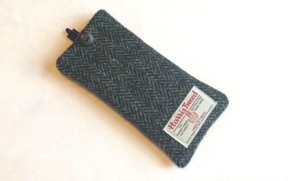 Grey herringbone Harris Tweed glasses case, mens specs case, tweed man gift, fathers day