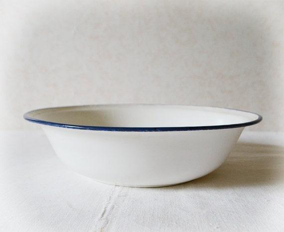 White Enamel Wash Basin Vintage French