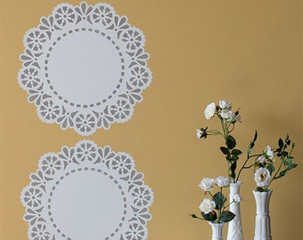 Wall Art Motif Stencil Lace Margaret Doily Stencil for DIY Projects - Reusable Mylar Stencil for Vintage Shabby Chic Decor