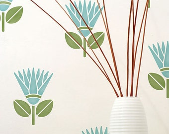 Wall Stencils - African Tribal Flower Furniture and Wall Stenciling for DIY Modern Home Decor