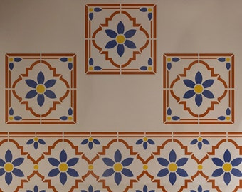 Boho Chic Flower Motif Furniture and Craft Stencil for DIY Decor - Faux Painted Tiles - Indian Tiled Wall Art Decor