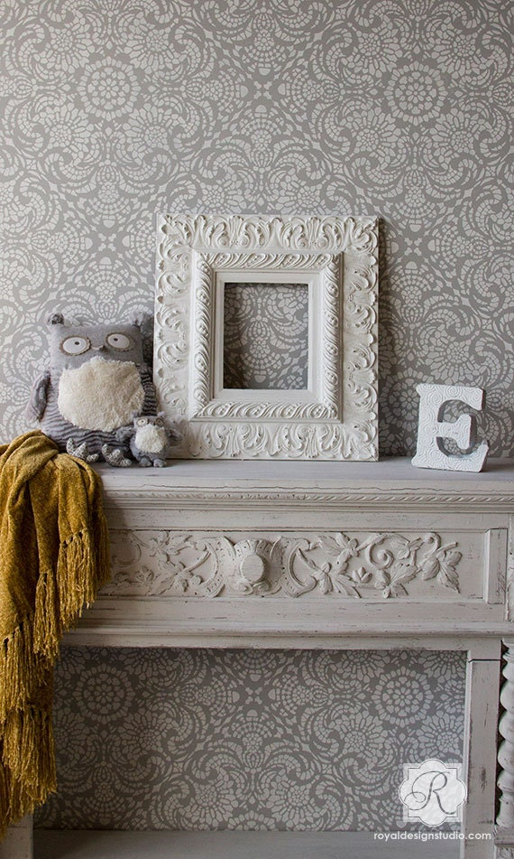 Vintage lace shabby chic tile wall stencil diy romantic for Shabby chic wall tiles