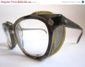 CIJ Christmas in July Sale - Vintage 50s AO Safety Glasses : S-A-F-E-T-Y steampunk eyeglass frames w/ wire mesh guards (4 3/4)