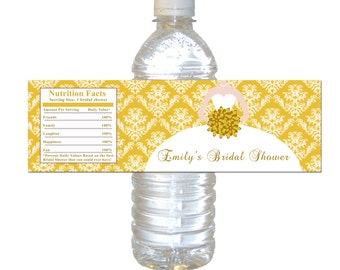 Gold Damask Bridal Shower Water Bottle Labels Wrappers - Vintage Bouquet Bride Quinceanera Sweet 16 Printable Personalized Party Items