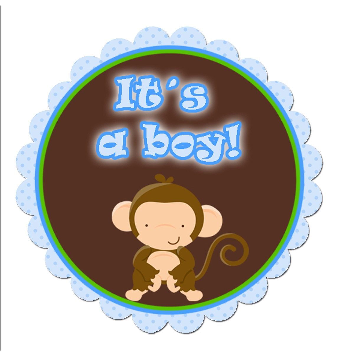 INSTANT DOWNLOAD Monkey Its A Boy Baby Shower Scalloped Tags