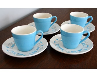 Blue Heaven, 4 Teacup and Saucer Sets, Mid Century Modern, Royal China