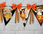 Halloween Party flags, bunting, Garland Banner DIY victorian download