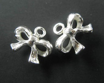 2 of 925 Sterling Silver Bow Charms  8x11 mm. :th1612