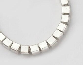 30 of Karen Hill Tribe Silver Cube Beads 3 mm . :ka3870m