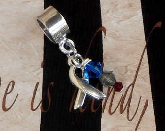Sterling Silver Type 1  Diabetes Awareness Charm Bead, European Style