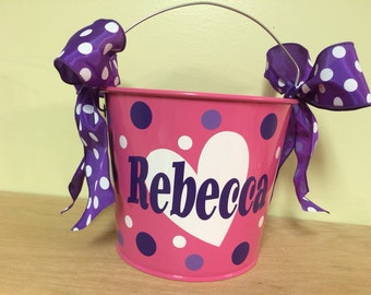 Personalized metal bucket, 5 quart, Valentine's Day, Lots of colors, designs available, Valentine's Day, birthday, gift basket