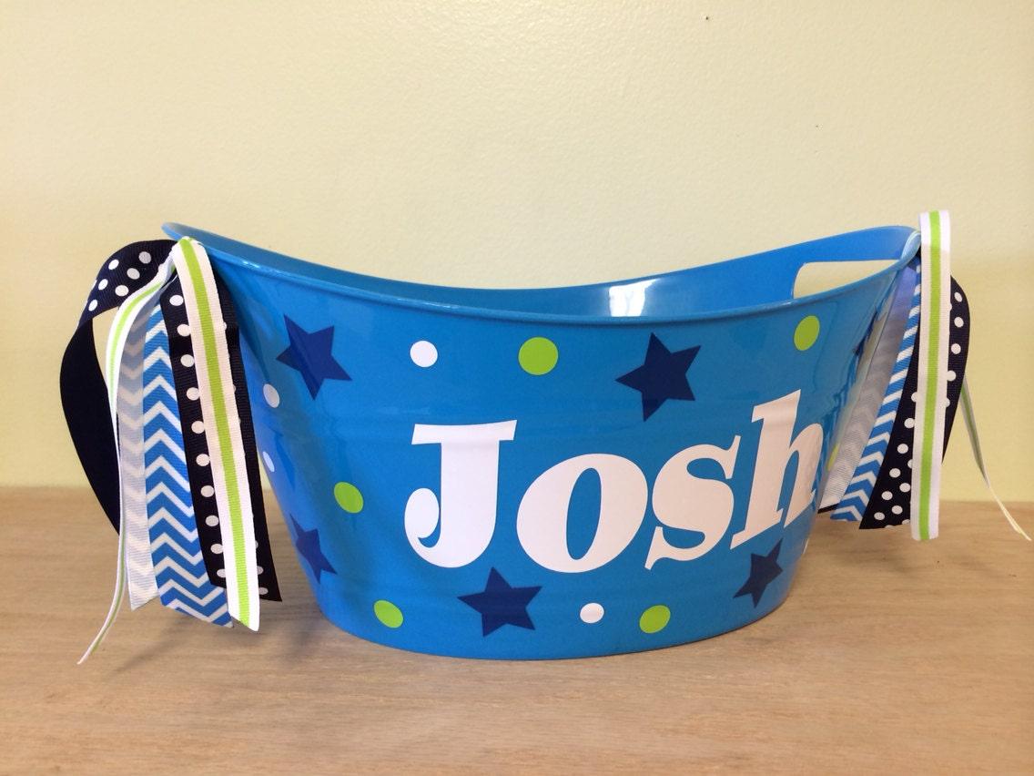 personalized oval tub easter basket baby gift basket name. Black Bedroom Furniture Sets. Home Design Ideas