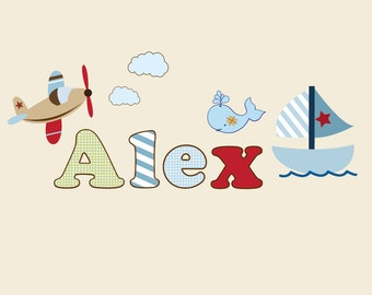 Childrens Name Sail Boat Wall Decal-Boys Name Vinyl Wall Decal-Baby Nursery Wall Decal