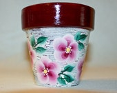 Shabby Chic Hand Painted Pink Flower Pot