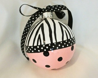 Hand Painted Ornament, Zebra Print and Polka Dot