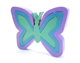 Butterfly Decor and Puzzle in Purples and Blues