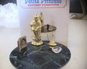 Vintage Miniature Petite Princess Gold Buddha, Cigarette Lighter, Ash Tray, Picture Frame  on Marble faux Coffee Table Set  Mint Condition