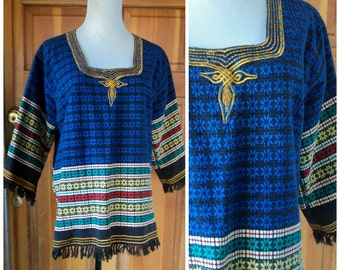 Vintage Tunic Woven Hippie Fringe Ethnic Top Boho Embroidered Festival Heavy Cotton Weave XL 42 B