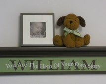 "Kids Personalized Name Shelf 30"" Shelf with Sign Quotation - You Are The Hero Of Your Own Story - Baby Nursery Wall Shelves Brown and Green"