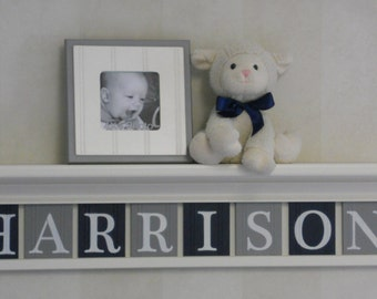 "Navy and Gray Personalized Children Nursery Wall Decor 30"" (white or off white) Shelf with 8 Wood Letter Plaques - HARRISON"