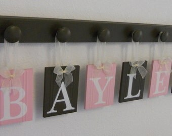 Hanging Baby Girl Nursery Wall Decor Letter Sign, Light Pink / Chocolate Brown Wooden Name Personalized Hanging Letters with Wood Hangers