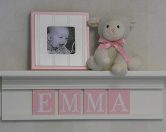"Pink Baby Shower Decorations - Baby Girl Nursery Decor - EMMA - 24"" Linen Off White Shelf with 4 Wooden Letters"