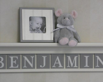 "Gray Personalized Children Nursery Wall Decor 30"" Linen (Off White) Shelf Sign with 8 Grey Wood Letter Plaques - BENJAMIN"