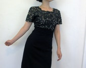 50's Vintage French Lace Black Wiggle Dress Classic Sexy medium