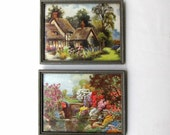 Vintage mid century 1950s English cottage garden framed prints
