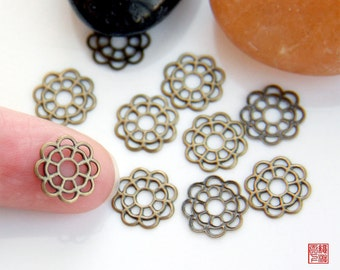 20pcs Small Brass Filigree Flower Connector Charm