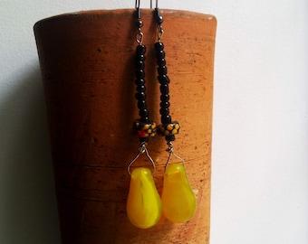 KOKLODJU African mali big wedding bohemian rare yellow glass earrings by Fianaturals