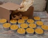 Beeswax Tea Lights - Box Set - 16 Candles ; ) NON-Parrifin Dipped & NON-metal cored Wicks