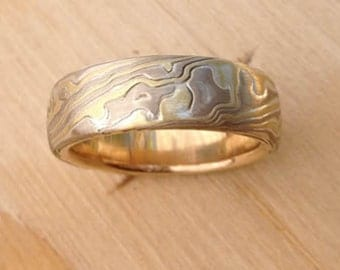 14k White Gold 18k Yellow Gold  with Sterling  Random Etched and brushed Mokume Gane Band