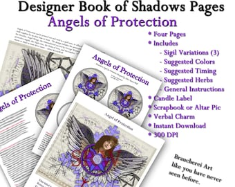 Protection Angel - BOS Pages - Four  Pages - Digital Collage Instant Download Includes Sigils, Candle Label, Instructions
