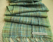 Tourquoise and Green Baby Alpaca and Bamboo Handwoven Scarf