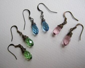 Swarovski  crystal faceted teardrop wire wrapped earrings