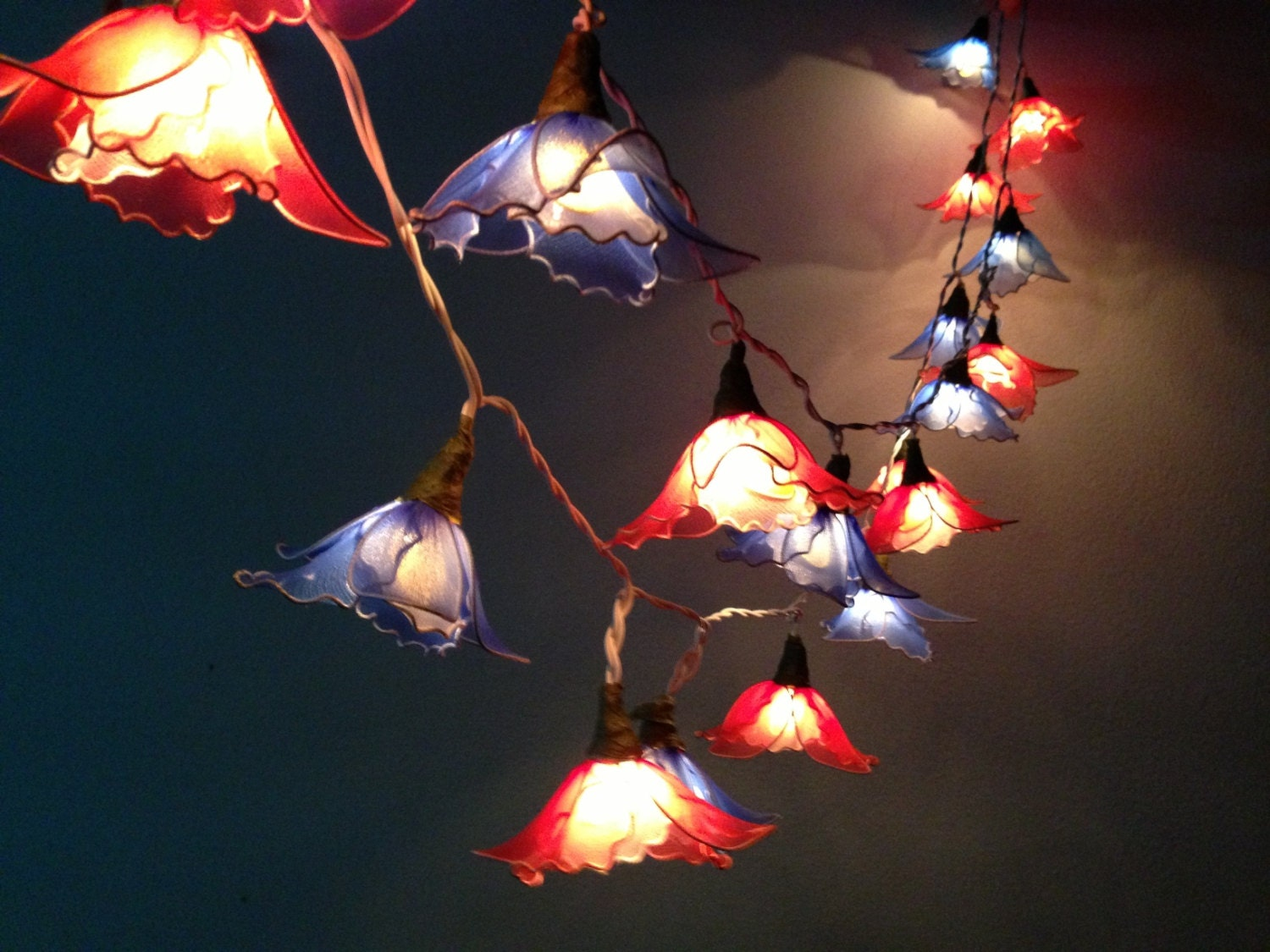Custom Party String Lights : 20 Bulbs Handmade Blue & Red flower string lights Garland for