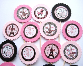 15 Pink Posh Paris Poodle Party Picks - Cupcake Toppers - Toothpicks - Food Picks - FP348