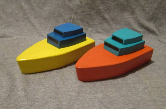 Wooden toy boat, the Key West, in yellow