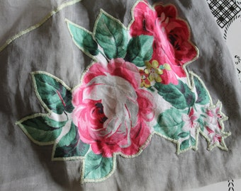 Vintage 2-Tone Gray Sheer Apron w/ Floral Applique/Rose~Lime Green Stitch! CUTE