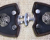 Cloak clasp leather celtic medieval SCA LARP costume LOTR cape mantle