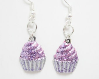 Cupcake Earrings, Pink Glitter Cupcakes, Hand Painted Charms, Dessert Jewelry, Sweet Food 333
