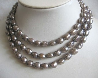 48 Inch Long Baroque Grey Freshwater Pearl Rope Necklace