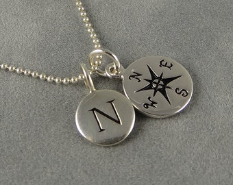 Custom Silver Compass Initial Necklace - Personalized Necklace - Gift Idea Mom, Daughter, Wife, Best Friend, Graduation