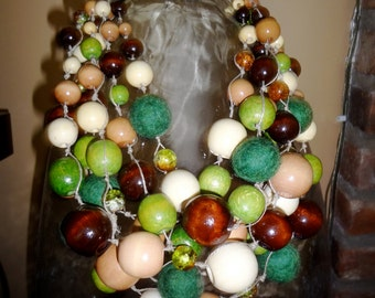 "Handmade Green Beads  statement necklace ""Green Forest """