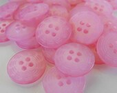 25 Pink Dashed Rim Large Round Buttons Size 11/16""