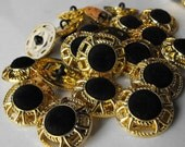"""10 Gold Wire with Black Velvet Shank Buttons Size 13/16"""""""