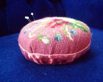 shabby chic sewing pink rose vintage pin cushion needlepoint floral pink pin cushion LARGE 6 inches