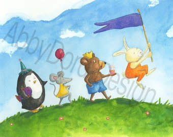 Parade of Animals, Whimsical, Penguin, Mouse, Bear Cub, Rabbit, Watercolor, Print